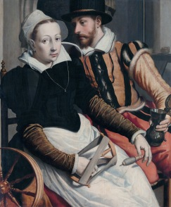 A woman at the spinning wheel and a man with a mug seated in an interior *oil on panel *76 × 63 cm *signed b.l.: P *circa 1560 - circa 1570