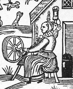 Woodcut_Woman_Spinning_Detail