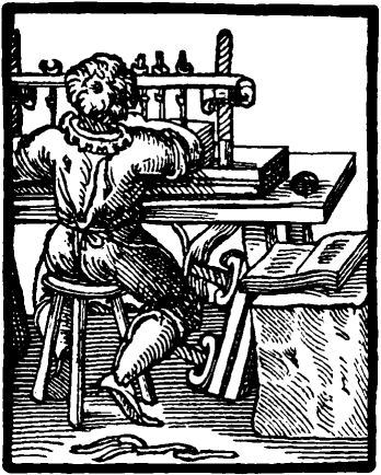 A woodcut of a 17th century binder working at his sewing frame.