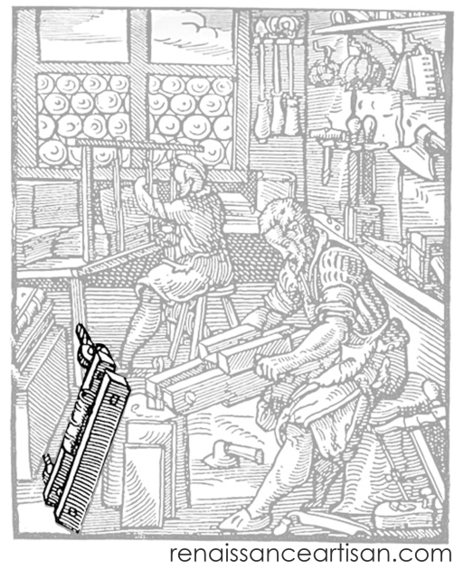 Jost Amman's woodcut of the bookbinders at work. The book clamped in a finishing press is highlighted and the rest greyed out.
