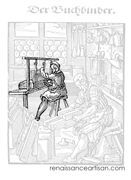 Jost Amman's woodcut of the bookbinders at work. The man at the sewing frame is highlighted while the rest is greyed-out.