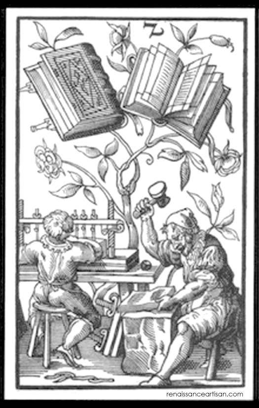 A woodcut depicts two men working at a book bindery with two finished tomes floating decoratively above them (this is the back of a playing card). One man sits at a table, sewing the signatures of a book together while his companion beats another book with a giant hammer.