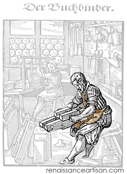 Jost Amman's bookbinder image. The man in the foreground using a bookbinders plough is in focus and the rest of the image grayed out.