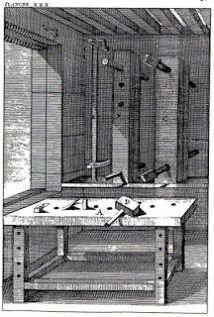 Woodcut from Felebien's book, large double-screw presses hang on the wall, in shadow, looming over an unsuspecting workbench.